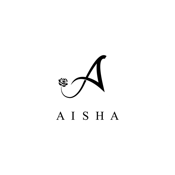 aishaclothing unitedkingdom abayas fashion logodesign logo flower rose